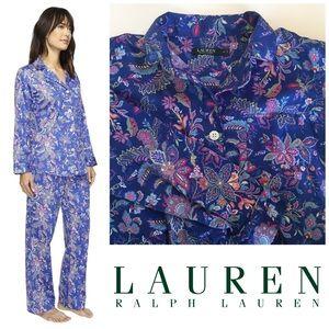 LRL Blue Paisley Monogram 2 piece pajama set PET L
